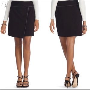 WHBM Faux Leather Trim Wrap Front Skirt